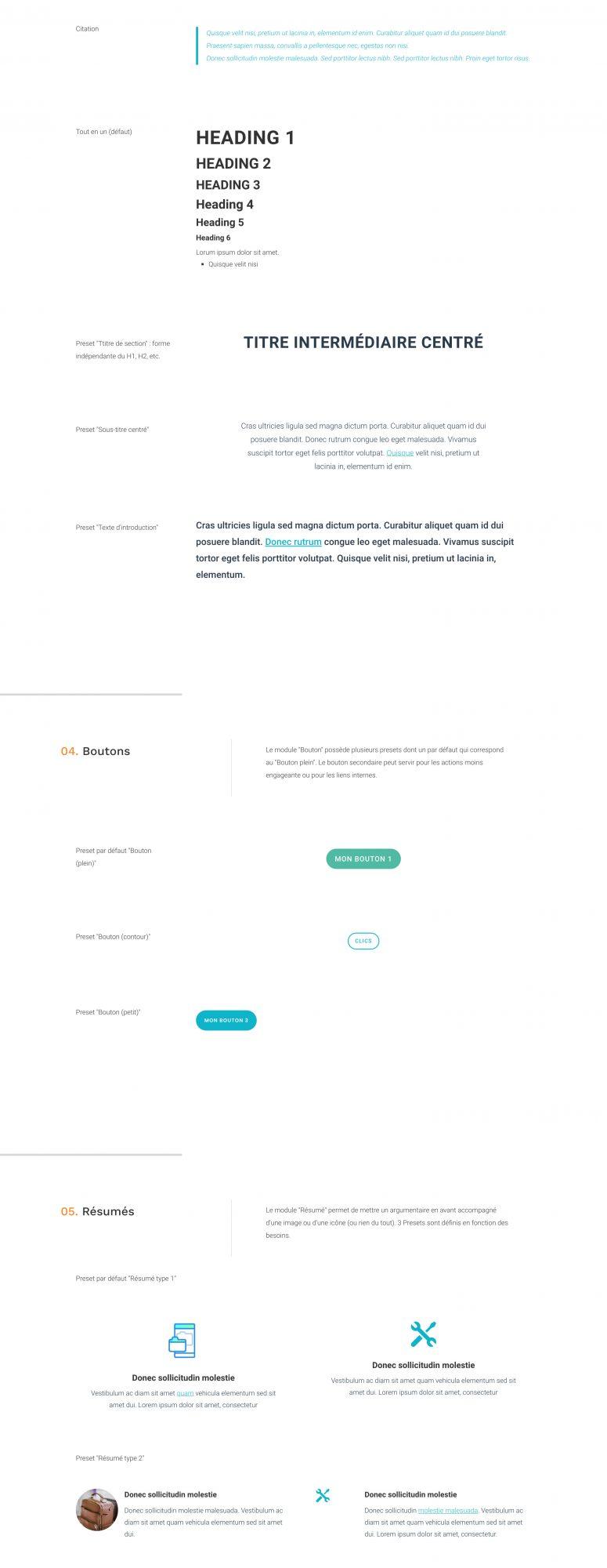 Styleguides WordPress et presets des composants Divi