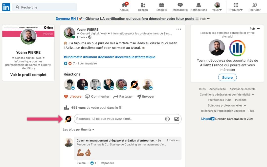 Commenter et liker des posts LinkedIn avec une page PRO