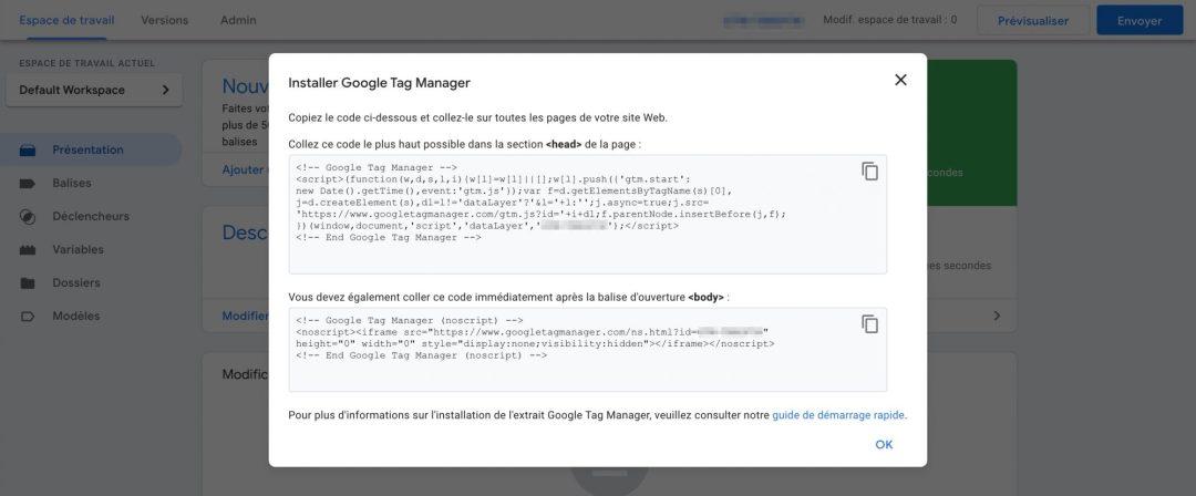 Capture de la fenêtre modale avec le code d'intégration de GTM