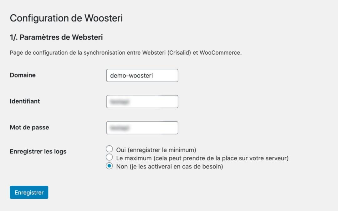 Capture d'écran de la page d'administration du plugin Woosteri