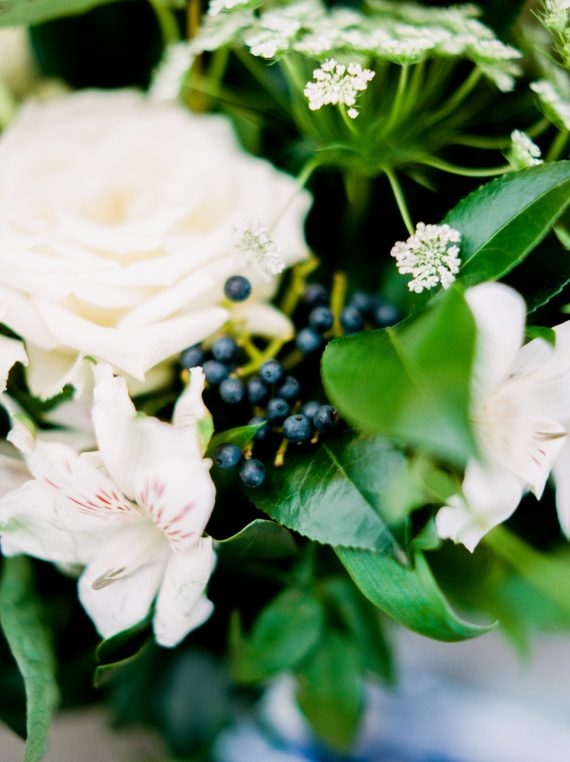 White and blue bouquet by Oak & Lily Flowers Photo by Brittany Mahood br-wedding007