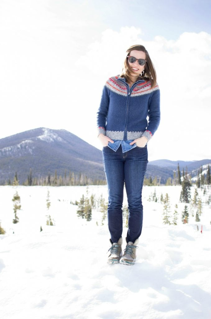 Love this beautiful Fair Isle Winter Outfit in the Colorado Rocky Mountains! And those boots!