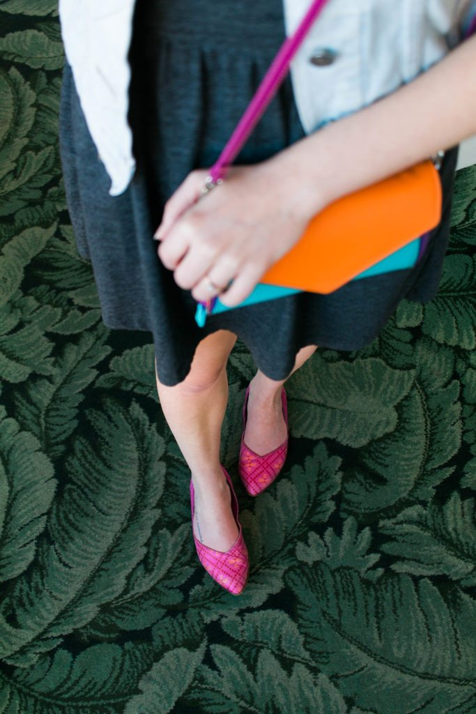 Bright & Fun clutch from Mywalit for Spring ! This spring style outfit is so fun & cute! Also those pink shoes are GREAT!