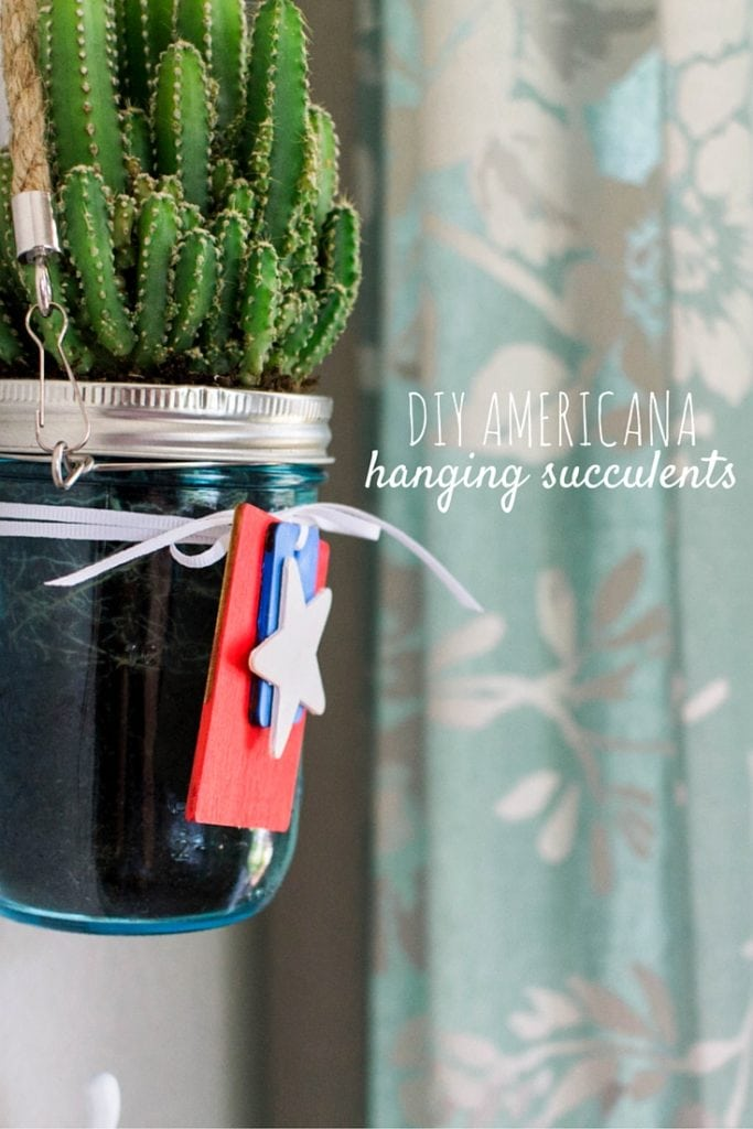 DIY Americana hanging succulents - perfect for the 4th of July!