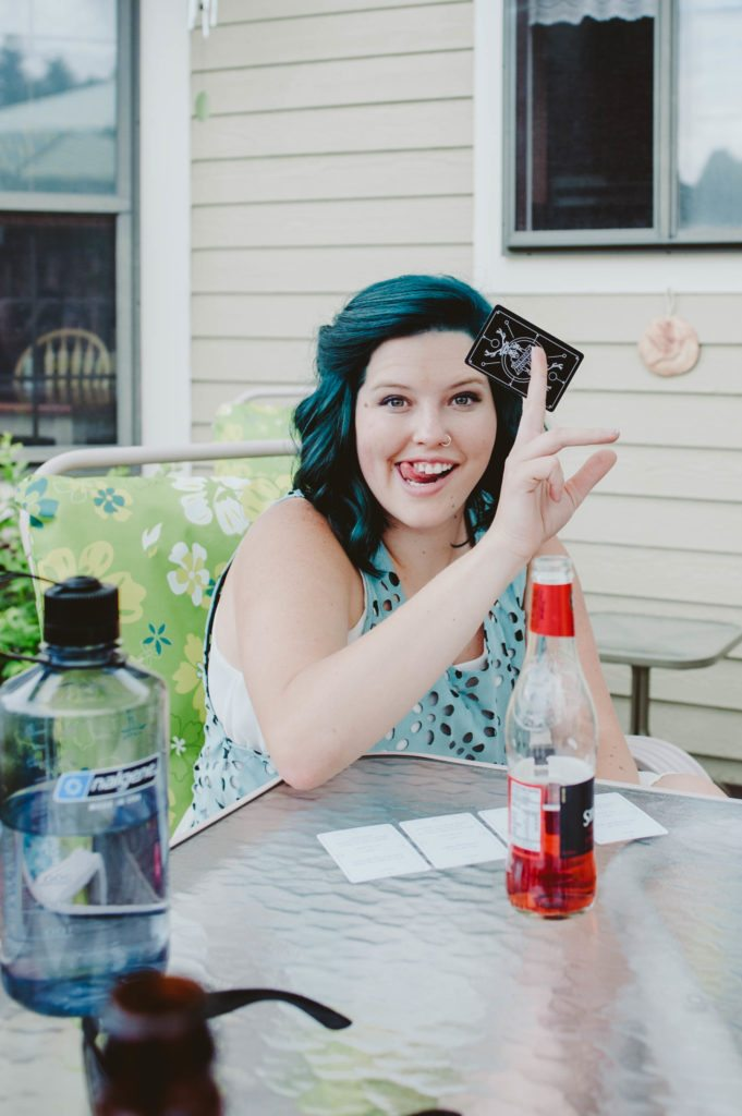Elizabeth Mayberry of Oak + Oats playing Deer Lord! the party game! Plan a game night (or day) with your friends to build community!
