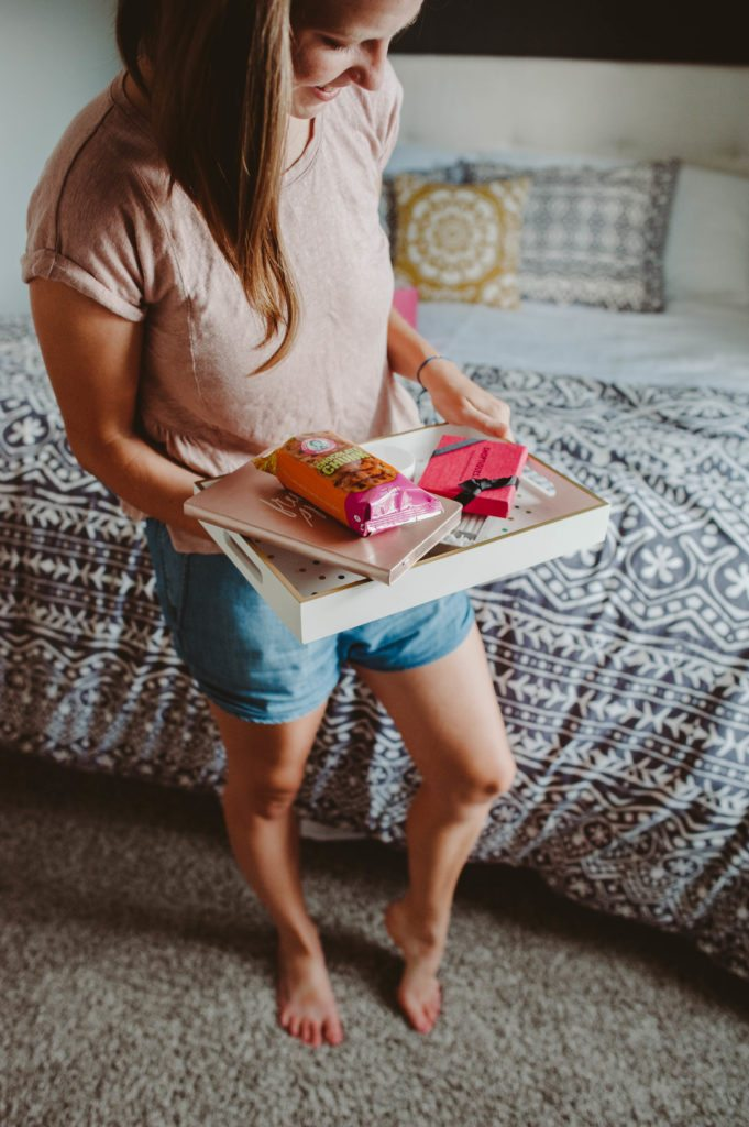 Lifestyle Blogger Elizabeth Mayberry and her work from home look. Denim Dolphin Shorts and the POPSUGAR Must Have Box reveal!