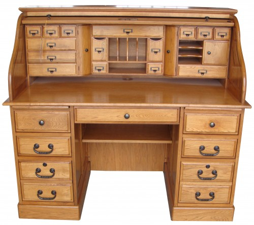 54 Deluxe Roll Top Desk Oak Factory Outlet Furniture Store