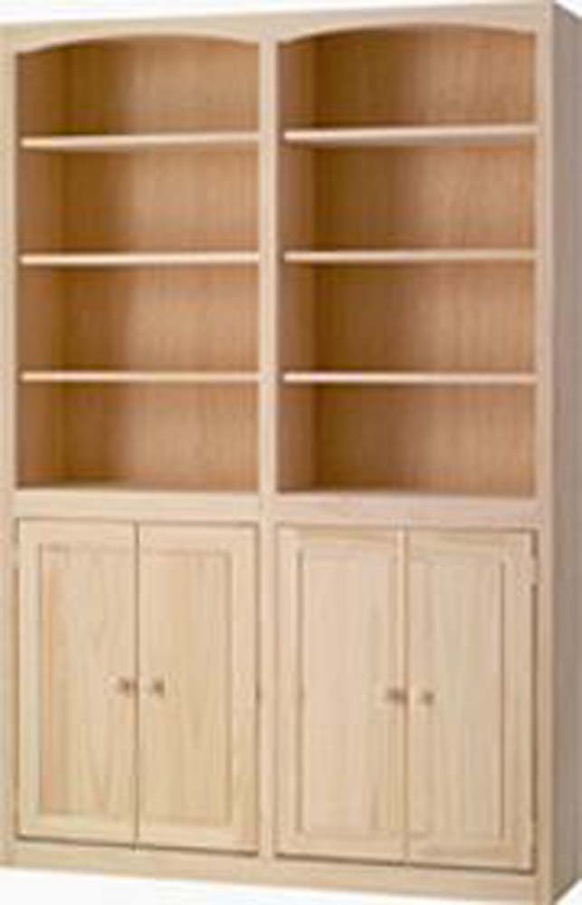 Archbold Furniture 48quot Wide Pine Bookcase WDoors Oak