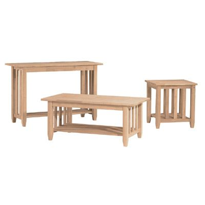 Whitewood Mission Style Occassional Set Oak Factory