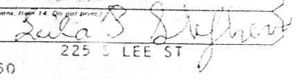 Leila (Pace) Stephens -- Signature from Social Security Application; Fitzgerald, GA