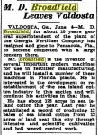 broadfield_mccarty-dean_documents_newspaper-article_leaves-valdosta-for-pensacola_05-june-1937_macon-telegraph_pg-5_genealogy-bank