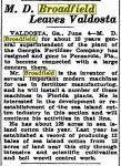 broadfield_mccarty-dean_documents_newspaper-article_leaves-valdosta-for-pensacola_05-june-1937_macon-telegraph_pg-5_genealogy-bank