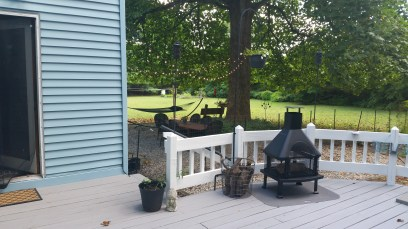 Deck after showing new fireplace