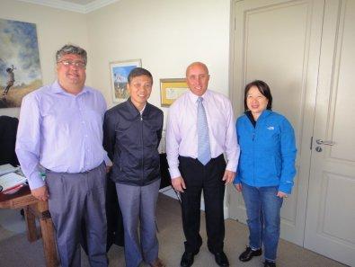 Mr Dawie Botha, Mr Wei, Mr Shane Kidwell and Mrs Wei