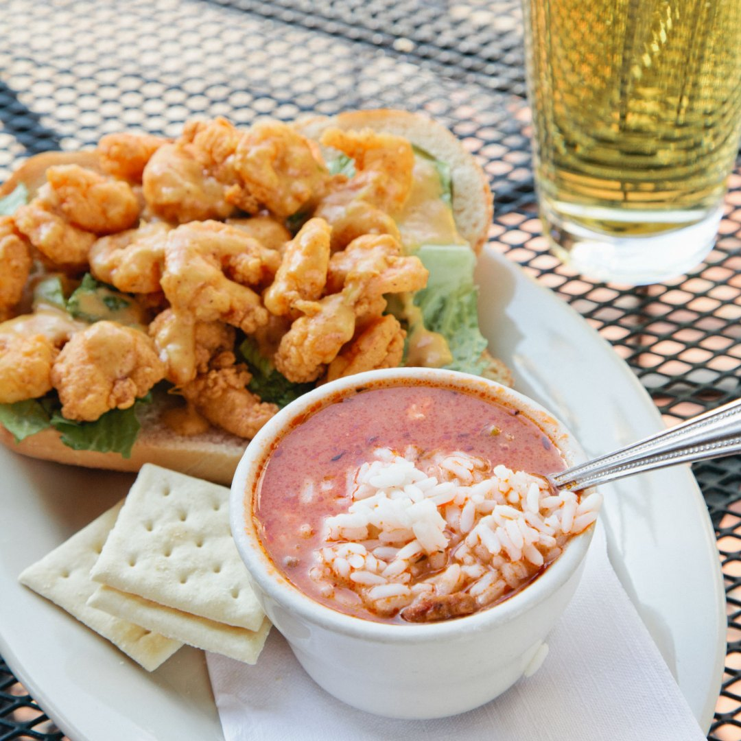 A Downtown Homewood Favorite: Oak Hill's Shrimp Po'boy with Gumbo!