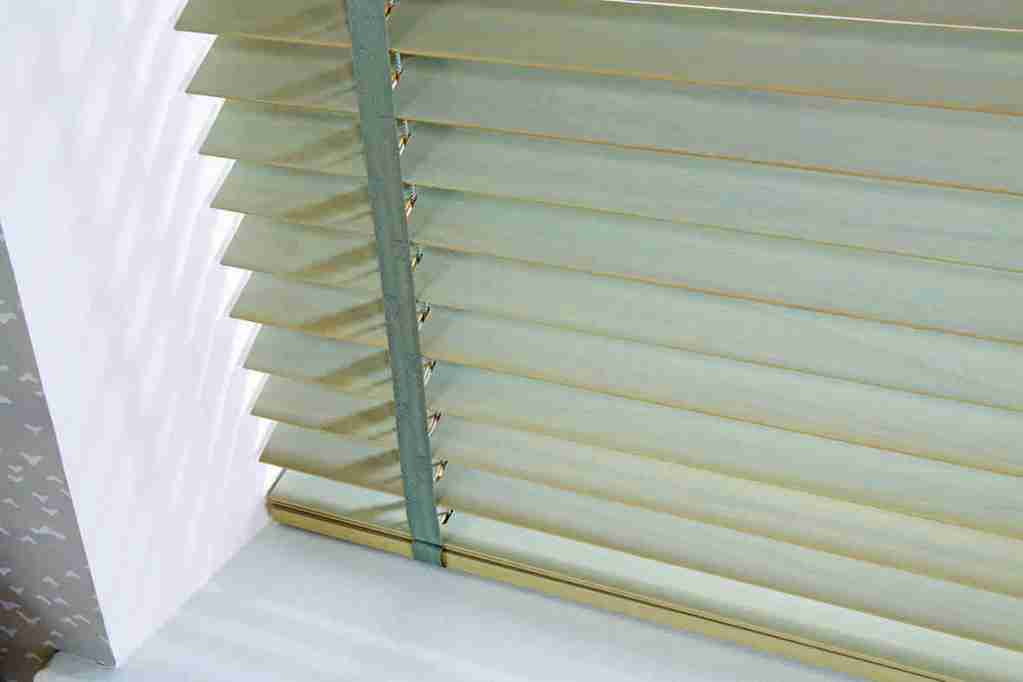 close up of Wooden Venetian blind