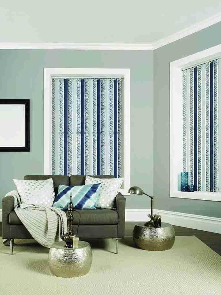 Vertical blinds in blue, grey and cream