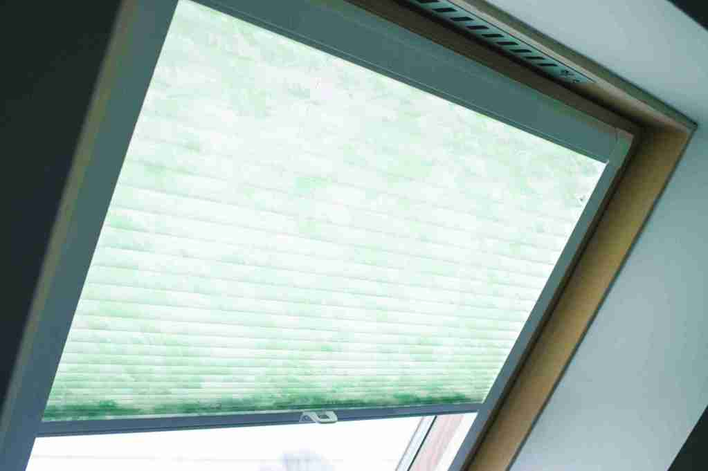 green patterned perfect fit pleated blinds