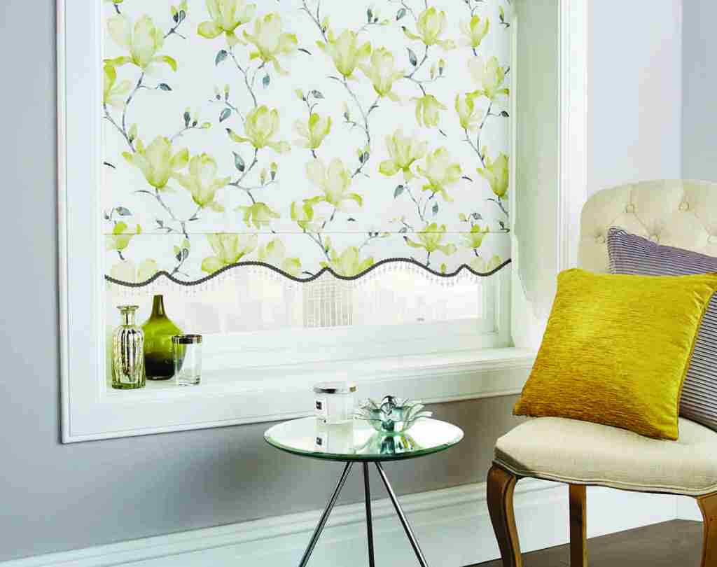 patterned roller blind with shaped bottom