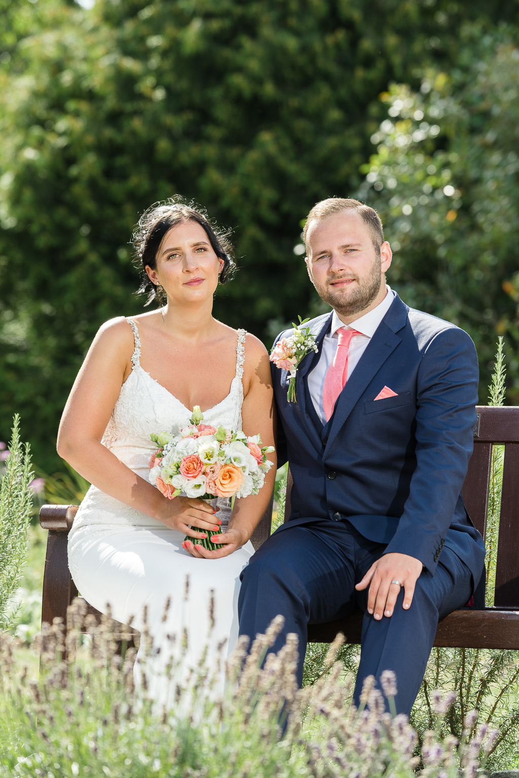 Bride and groom portraits in the English Rose Garden opposite  Danson House | Oakhouse Photography