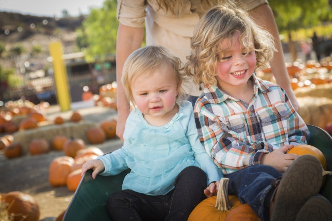 Young Family Enjoys a Day at the Pumpkin Patch.