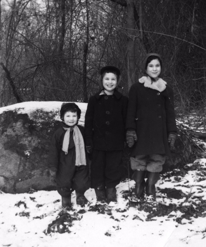 Nature Education Writer Jonathan Schechter (center) with his first glacial erratic