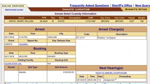 Henry Sintay's Inmate Record In Oakland