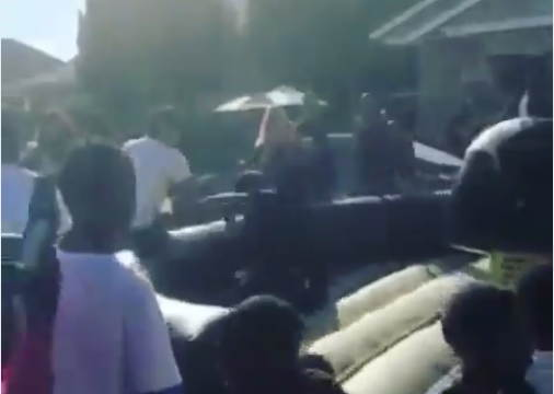 Oakland Police Officer Falls Off Bull Ride In East Oakland – With Gun On?