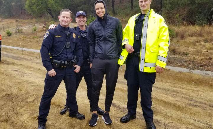 Steph Curry and CHP after accident