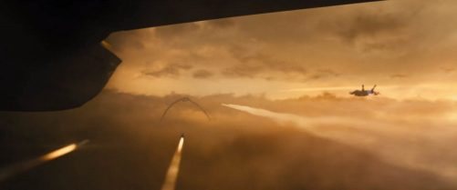 Godzilla King of the Monsters. Air fight vs. Rodan.