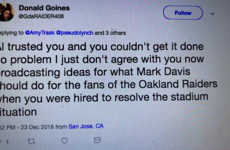 Donald Goines, Attacking Amy Trask On Twitter For Oakland Raiders Stadium Issue Is Wrong