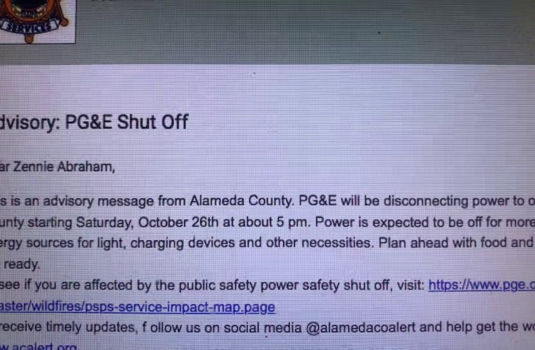 PG&E To Shut-Off Power To 57,000 Alameda County Residents, Businesses For Two Days Starting Saturday