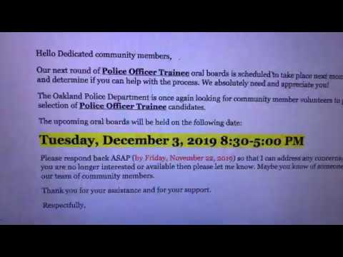 Help Oakland Police Department Pick Future Officers – Join The Oral Boards