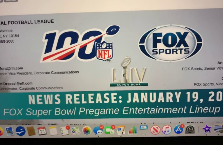 NFL FOX Super Bowl LIV Pregame Entertainment Lineup Reveled Using Canva SAAS