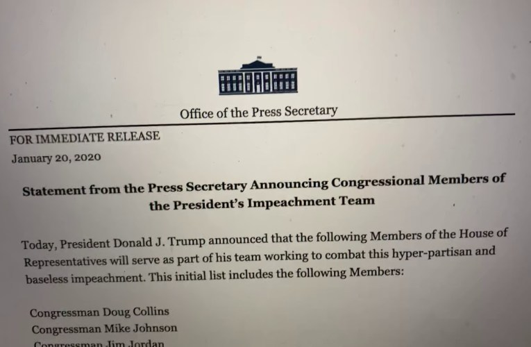 White House Press Secretary Announcing Congressional Members of President Trump's Impeachment Team