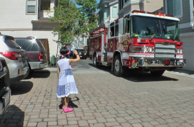 Mountain View Police Department And Fire Department Birthday Brigade For Little Steffi Togasaki