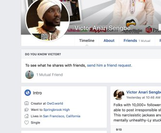 Victor Anari Sengbe In San Francisco Says His Facebook Page