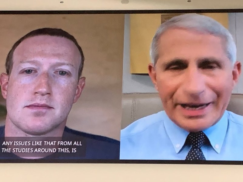 Dr. Fauci On With Facebook CEO Mark Zuckerberg As Fauci Talks Vaccine Testing Process