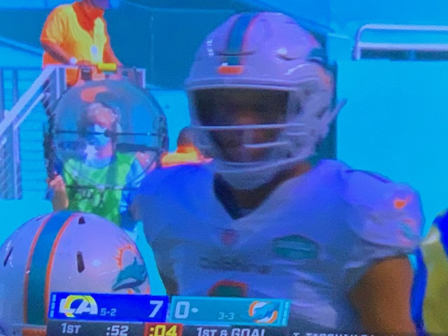 Tua Tagovailoa First NFL TD Pass Caught By DeVonte Parker Of Miami Dolphins vs LA Rams