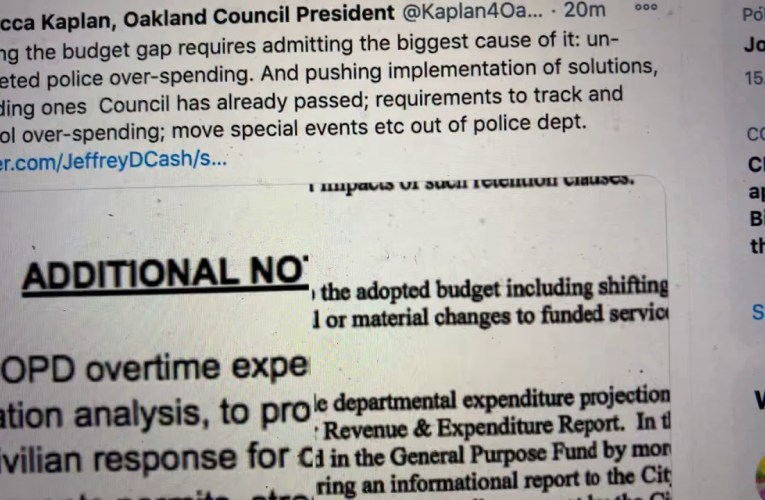 Rebecca Kaplan Oakland Councilmember Presents Ideas To Generate Budget Revenue – On Twitter