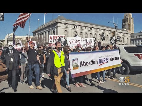 Anti-Abortion Demonstrators March in Downtown San Francisco