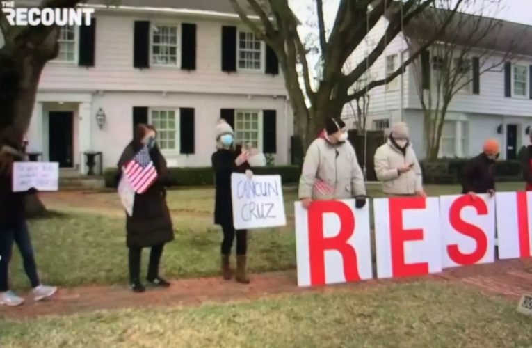 Ted Cruz Protestors Await Arrival At His Texas Home With Resign Sign After Cancun Trip