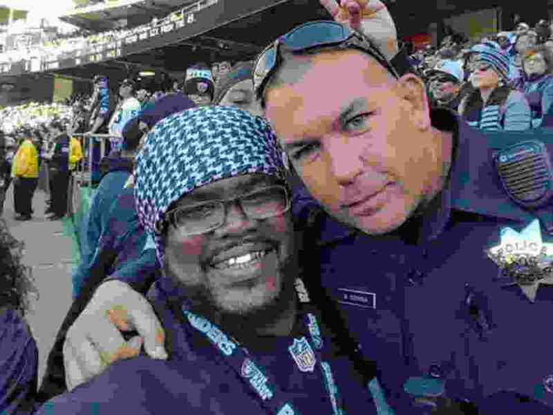 Brandon Dawkins Thanks Oakland Police Officer Mike For Service At Oakland Coliseum During Raiders Games