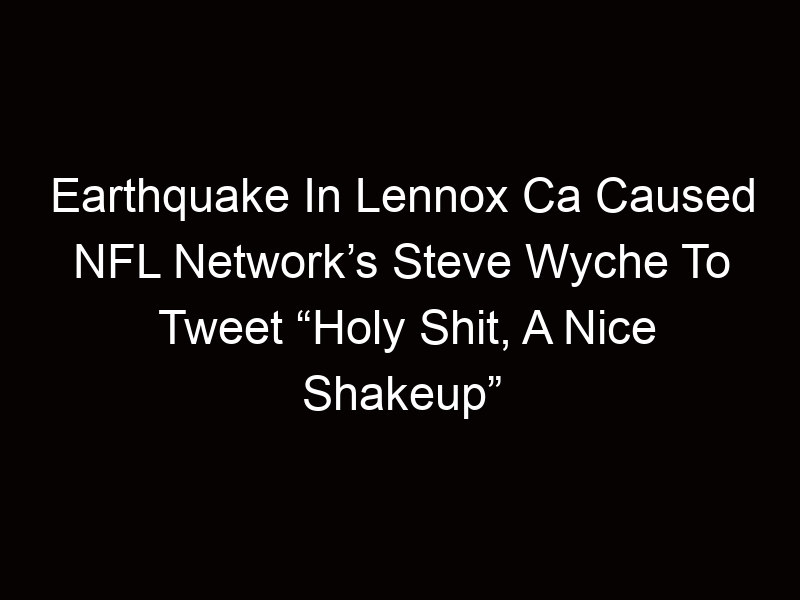 """Earthquake In Lennox Ca Caused NFL Network's Steve Wyche To Tweet """"Holy Shit, A Nice Shakeup"""""""