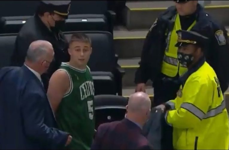 Celtics Fan Throws Water Bottle At Kyrie Irving And Gets Arrested, By: Vinny Lospinuso For Zennie62