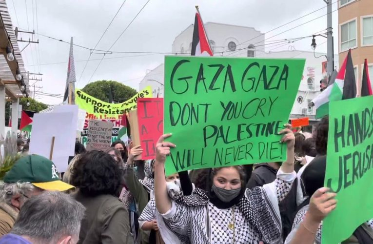 Giant Palestine Israel Protest In San Francisco Mission District