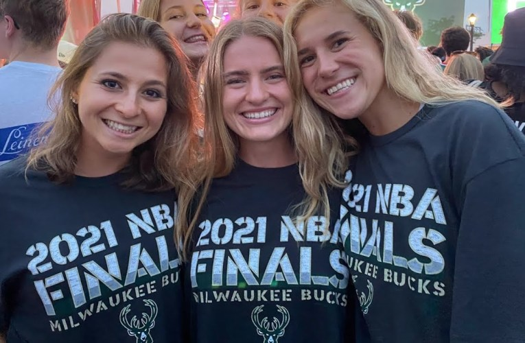 Alexa Westley Celebrates Milwaukee Bucs 2021 NBA Champions At A Packed, Crazy Deer District