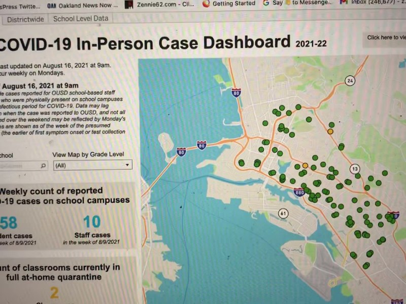 Oakland Schools OUSD Website Reports 58 Students, 10 Staff Had COVID-19 As Of 8-9-2021