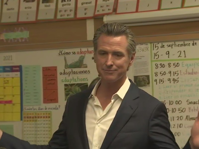 Day after election victory, Newsom visits Oakland to discuss COVID-19 in schools