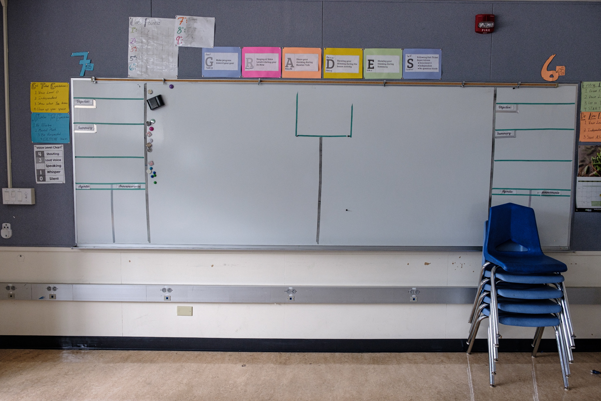 blank whiteboard and chairs stacked up at front of classroom